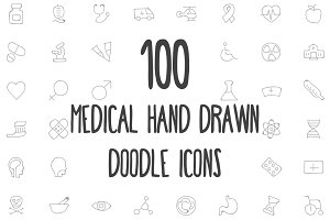 100 Medical Hand Drawn Doodle Icons