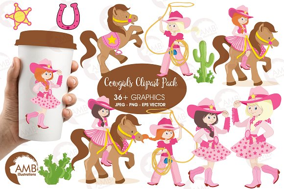 Cowgirls Clipart AMB-159