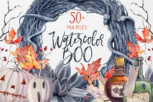 WATERCOLOR BOO Halloween set