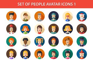 24 People Flat Icons Set 1