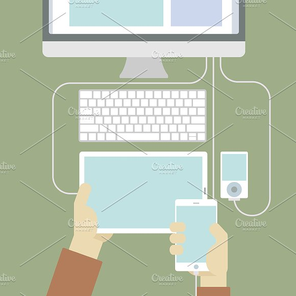 Connected Digital Devices Vector