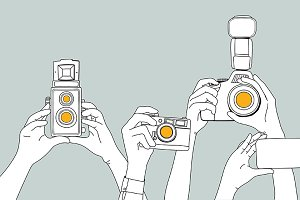 Hands taking photos vector