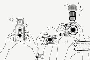 Hands taking photos vector