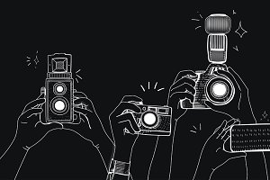 People snap photo vector