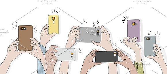 Hands taking photo smartphone
