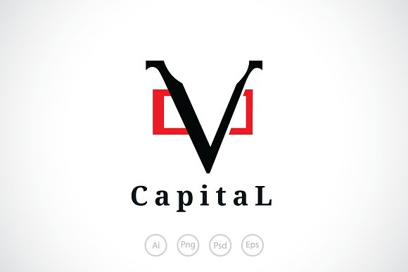 Capital V Logo Template