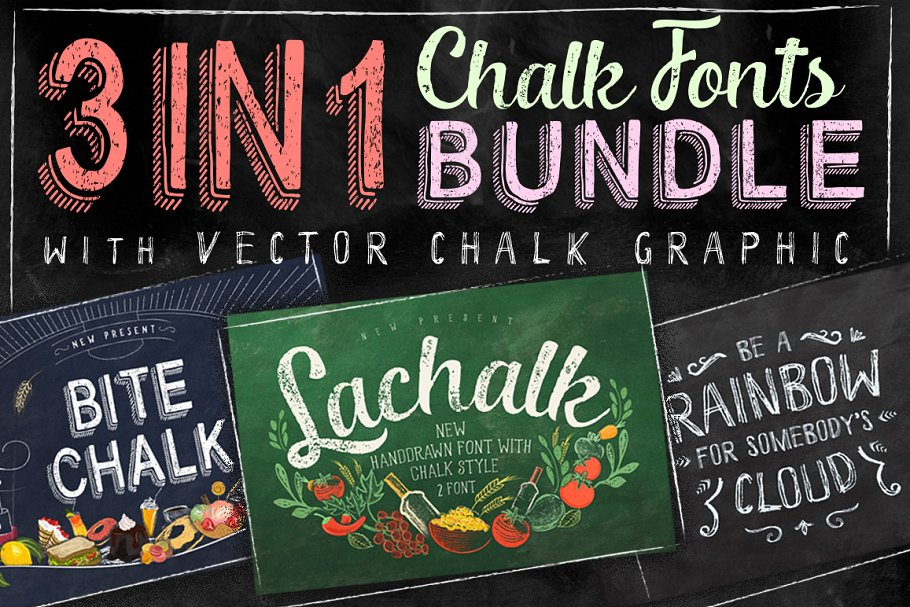 3 IN 1 Chalk Fonts Bundle + Extras