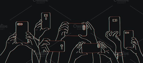 Hands taking photo with phone vector