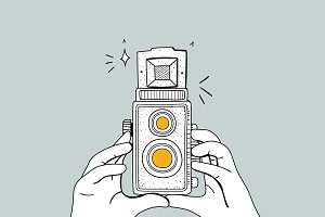 Analog film camera vector