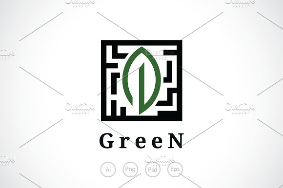 Green Leaf Box Logo Template