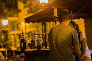 illuminated street cafe in Tbilisi