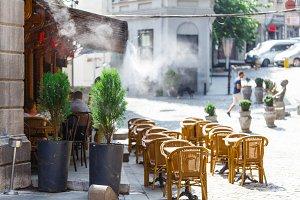 Cozy cafe along street