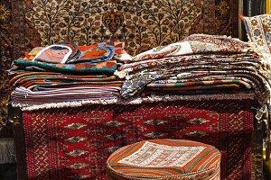 Old carpet in street shop