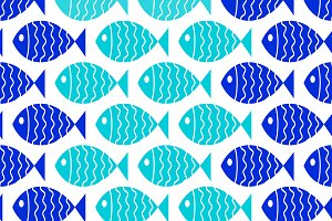 Seamless nautical pattern with fish.