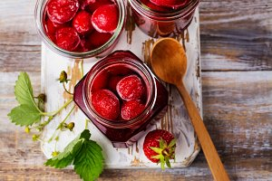 Strawberry jam in glass jar