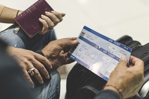Senior couple traveling together