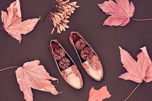 Autumn. Fall Fashion Minimal.Vintage.Fall Leaves