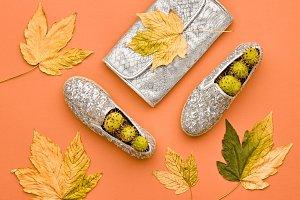 Fall Fashion Minimal Set.Fall Leaves.Pastel colors