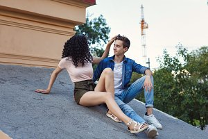 Teenagers. Dating on roof