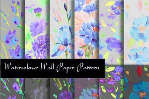 Watercolor Floral Pattern Purple