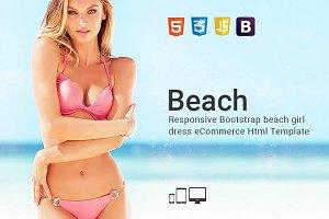 Beach - Girl Dress Html Template