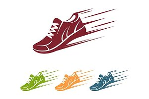 Speeding running shoe icon