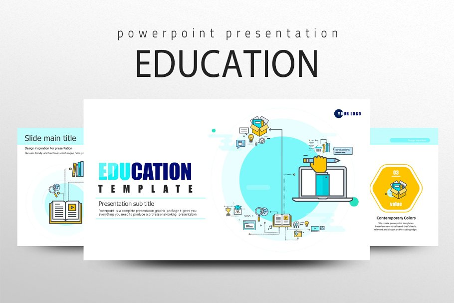 Education Icon Ppt Template Presentation Templates Creative Market
