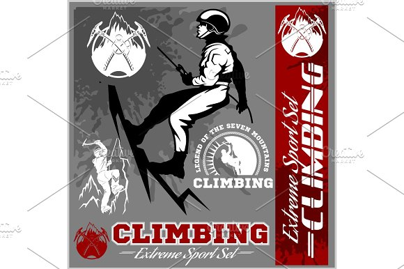 Set Of Mountain Climbing Vintage Logos Emblems Silhouettes And Design Elements