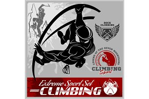 Set of mountain climbing vintage logos, emblems, silhouettes and design elements.