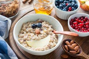 Kids meal oatmeal porridge with fruits