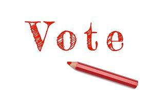Vote text sketch red pencil