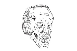 Zombie Head Eyes Closed Drawing