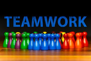 Concept teamwork, organization, group multi color text