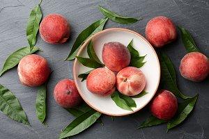 Fresh peaches fruits