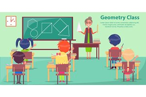 Geometry Class with Woman Teaching Small Students