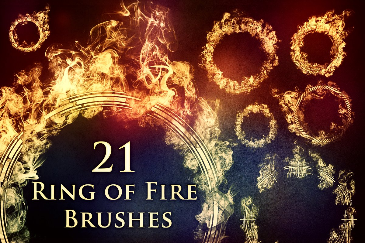 81f4fc9dccdd 21 Ring of Fire Brushes ~ Photoshop Add-Ons ~ Creative Market