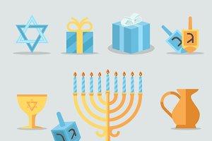 Jewish holidays hanukkah icons