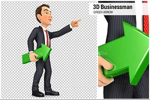 3D Businessman Green Arrow