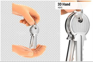 3D Hand Handing Over the Keys