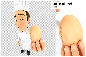 3D Head Chef Holding an Egg