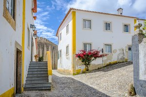 Obidos, Portugal, on a cloudy sky