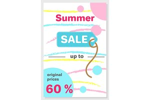 Summer Sale Poster with 60 % Discount off Vector