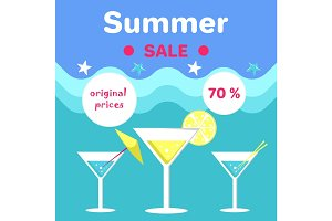 Summer Sale Poster with Holiday Discount Vector