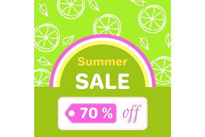 Summer Sale Poster with 70 % Discount off Vector