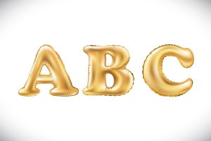 Gold A B C Balloons letter vector