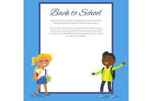 Back to School Poster with Blonde Girl, Indian Boy