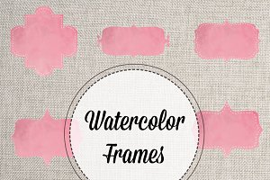 Pink Watercolor Bracket Frames