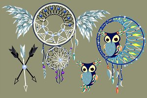 Aztec Owl Dreamcatcher
