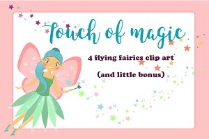 Flying fairies clip art. eps+png+jpg