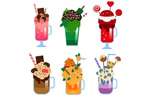 Monster shakes. Big milkshakes icons